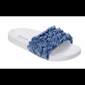 Adorable ruffle blue denim comfy slide.. brand new